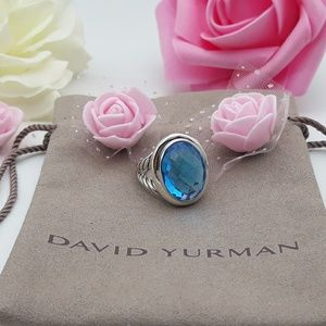 David Yurman Oval Ring with Blue Topaz